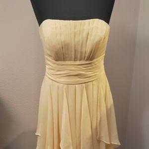 David's Bridal Yellow Chiffon dress with layers